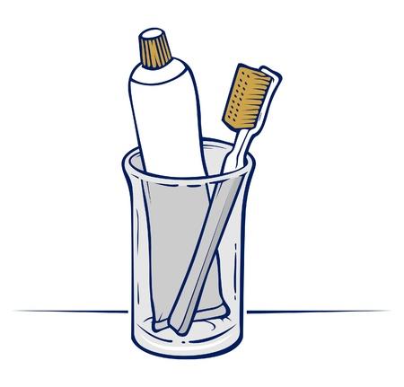 productos de aseo: cepillo de dientes con pasta de dientes