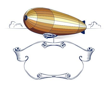ballon dirigeable: embl�me de ruban zeppelin r�tro Illustration