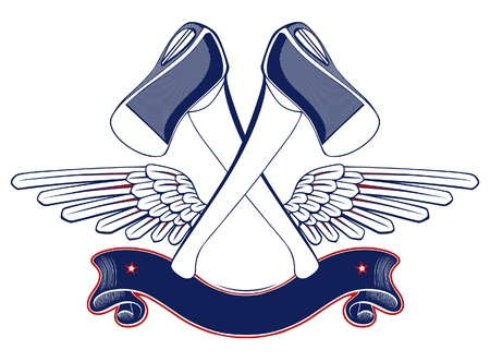 axe wing emblem with ribbon Illustration