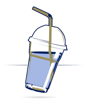 plastic cocktail cup in icon style Vector