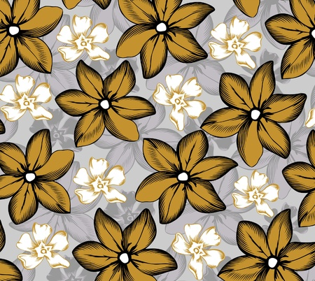 pattern of tropical flowers gold and gray Vector