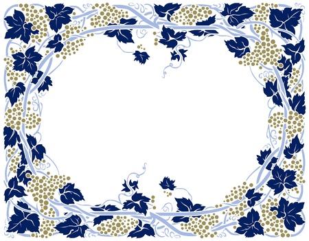 bordure vigne: cadre de direction raisin