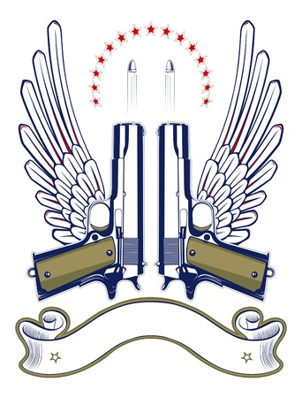 gun and bullet emblem with wings and ribbon Illustration