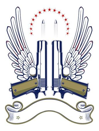 revolver: gun and bullet emblem with wings and ribbon Illustration