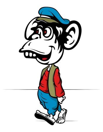 crazy cute: cartoon monkey walk with cap and wear