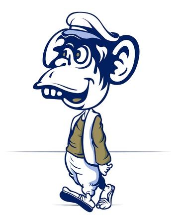 cartoon monkey walk with cap and wear