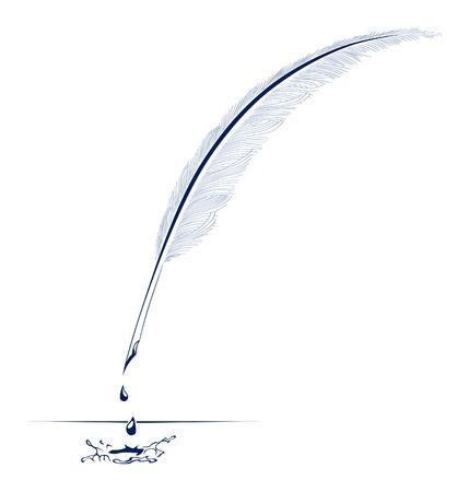 inkt pen vogel veer Vector Illustratie