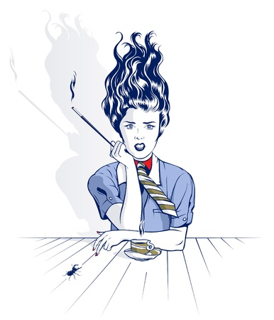 smoking woman sits at a table drinking coffee