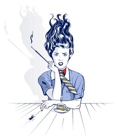 hot lips: mujer de fumar se sienta en una mesa tomando caf�