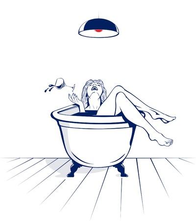 les femmes jeune beauté se détendre sur la salle de bain avec un verre de vin