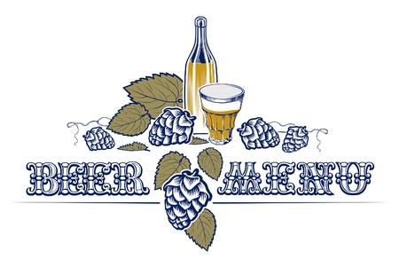 vintage style beer list with bottle, hop and glass Illustration