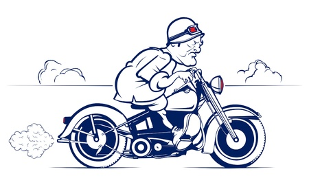 motorcycle rider: retro style cartoon biker ride  Illustration
