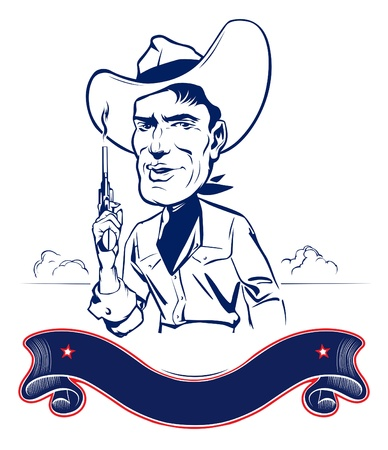 cowboy man portrait with gun and ribbon Vector