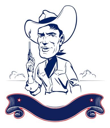cowboy man: cowboy man portrait with gun and ribbon