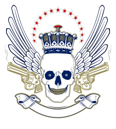 crown skull wing emblem with smoke guns  Vector
