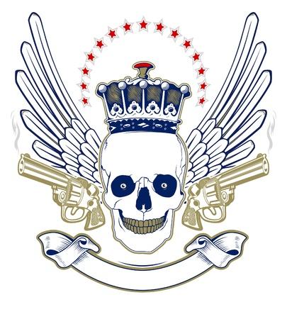 crown skull wing emblem with smoke guns