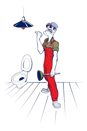 plumber man smile in bathroom Vector