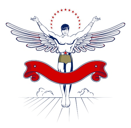 angel wing man emblem with ribbon  Stock Vector - 10260110