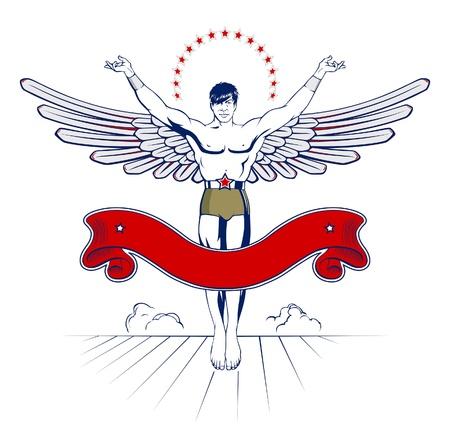 angel wing man emblem with ribbon  Illustration
