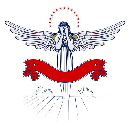 angel wing woman emblem with ribbon  Illustration