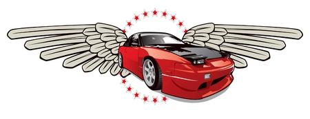 emblema de auto de carrera rojo Ilustración de vector