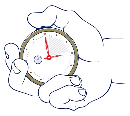 the interval: hand and stopwatch in vector
