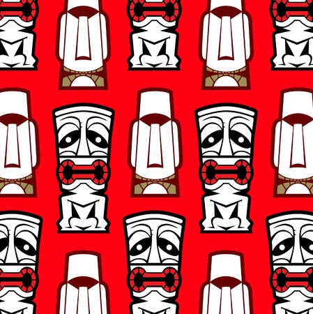 performance art: maori mask background pattern Illustration