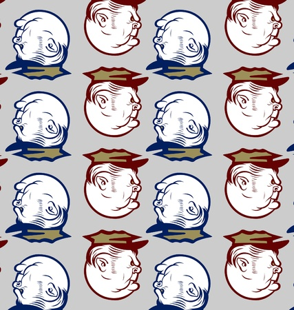 policeman officer angry face pattern background Vector