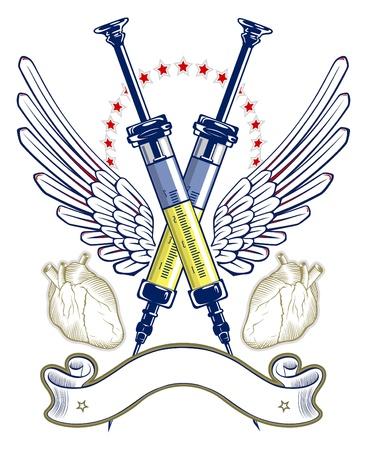 injectie: spuit en hart vleugel embleem met lint Stock Illustratie