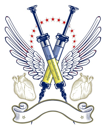 syringe and heart wing emblem with ribbon Vector