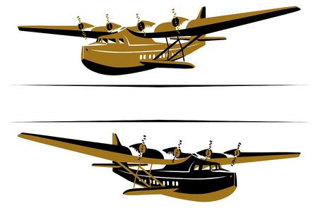 airplanes: retro airplane boat icon style