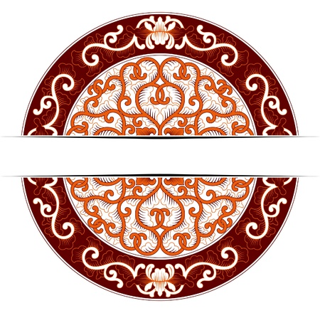 asia circle ornate in red colors  Vector
