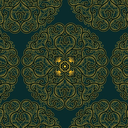 textile image: asia circle pattern in retro style