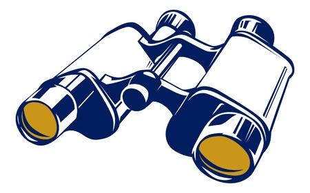 spyglass: binoculars icon in basic vector style