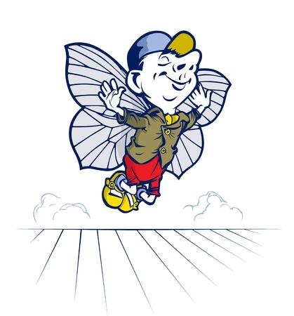 mosca caricatura: cuento de hadas jóvenes y sonrisa de niño volar con alas de mariposa