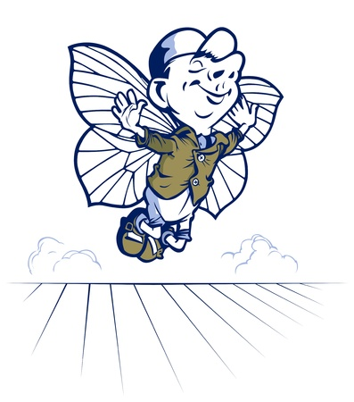 fairy tale young and smile boy fly with butterfly wings Vector