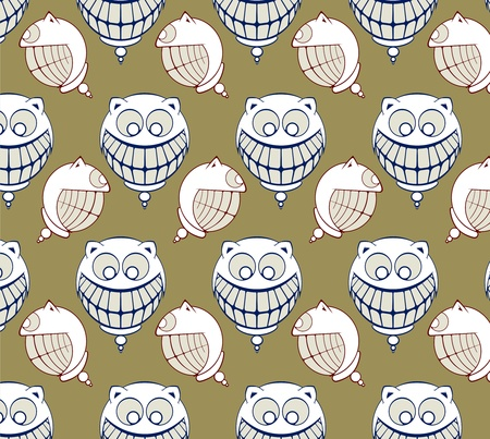 funny smile of cartoon face background pattern Vector
