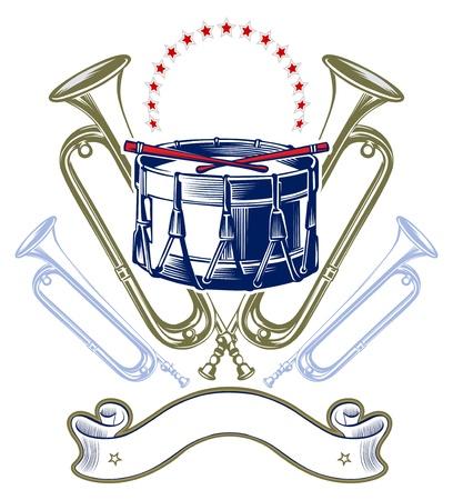 music jazz band emblem in retro engraving style