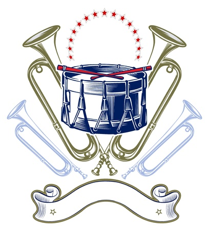 band instruments: music jazz band emblem in retro engraving style