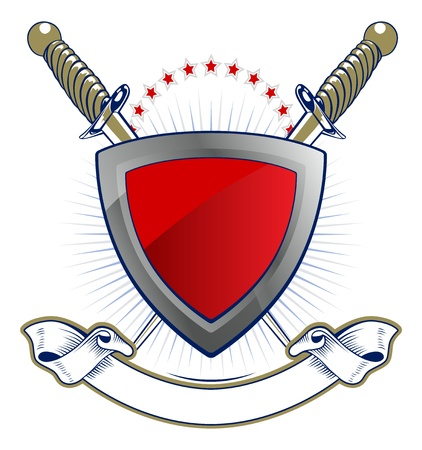shield and sword emblem with ribbon Vector
