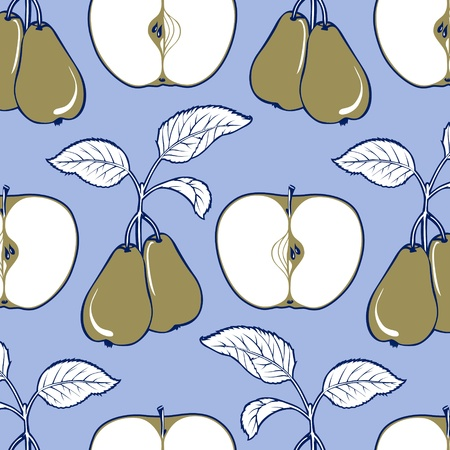 Apple and pear background  pattern in blue and green colors Vector