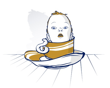 baby child head on coffee cup in cartoon style  Vector