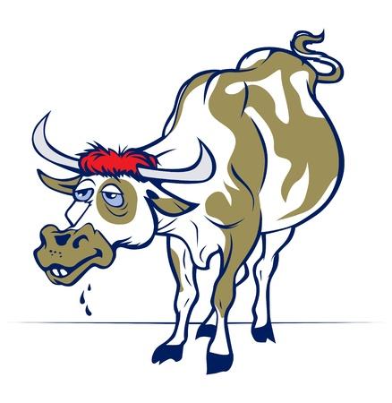 funny cartoon smile cow or bull  Vector