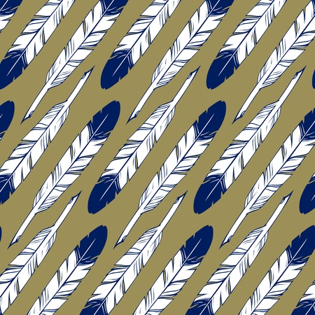 feather blue pattern background in green Vector