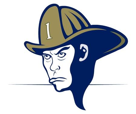 cartoon style fireman in helmet Illustration