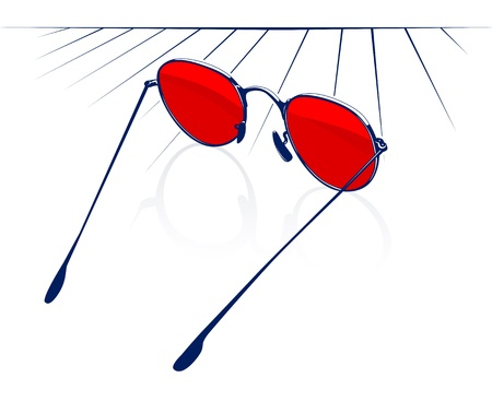 looking glass: red sunglasses icon in surface