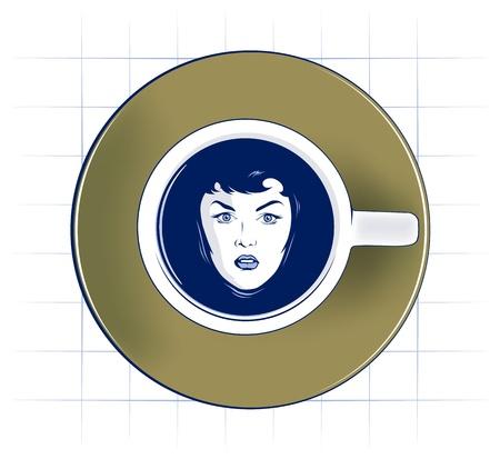 swiming: beauty woman face swiming in coffee cup