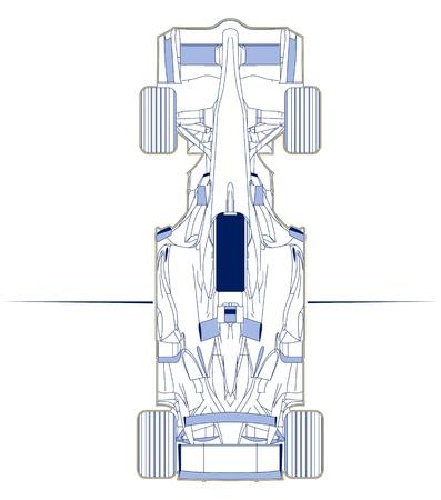 formula racing car scheme top view Ilustração