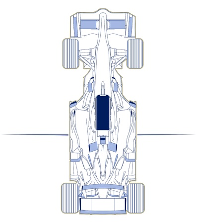 formula one car: formula racing car scheme top view Illustration