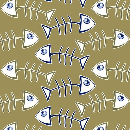 outline fish: fish bone pattern background in green